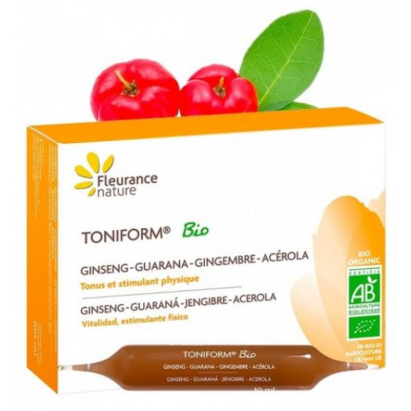 Ampoules Toniform bio, Ginseng, Guarana, Gingembre, Acérola - Fleurance Nature