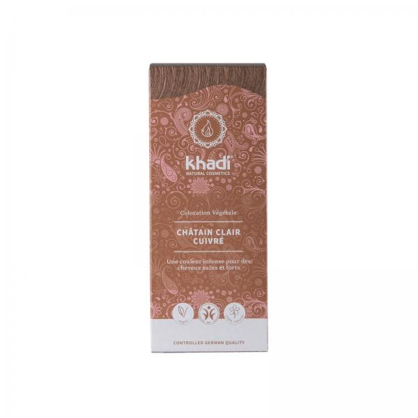Coloration capillaire végétale châtain clair cuivré - Khadi