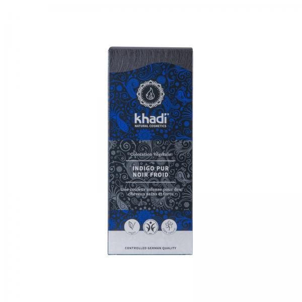 Coloration capillaire végétale Indigo pur Noir Froid - Khadi