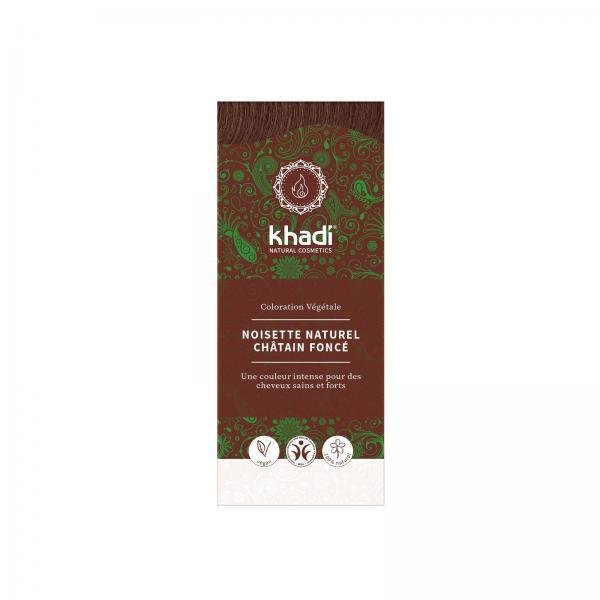 Coloration capillaire végétale Noisette Naturel Chatain Foncé - Khadi