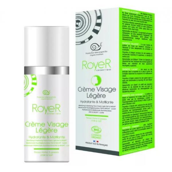 Crème visage légère matifiante Bave d'Escargot Bio & Fraîche - RoyeR Cosmétiques