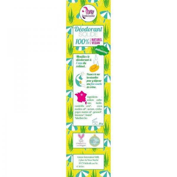 Déodorant Solide au Palmarosa 100% Naturel et végane-Lamazuna