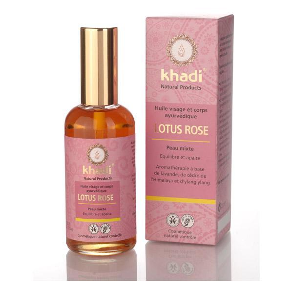 Huile ayurvédique visage et corps Lotus Rose peau mixte - Khadi