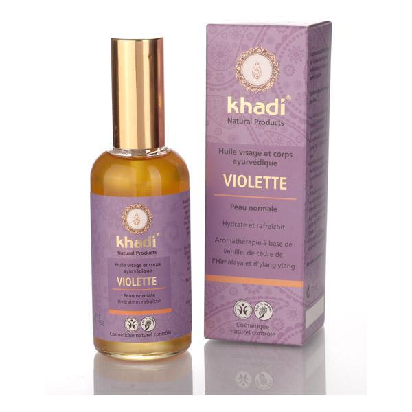 Huile ayurvédique visage et corps Violette  peau normale - Khadi