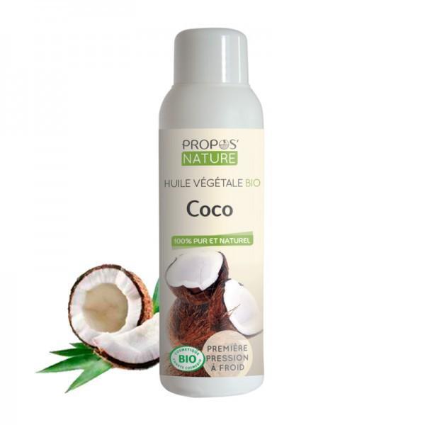 Huile Végétale de Coco Bio 100% pure et naturelle-Propos'Nature