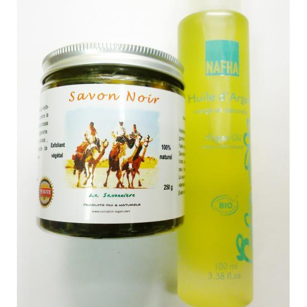 Idée Cadeau Hammam: Savon Noir + Huile d'Argan