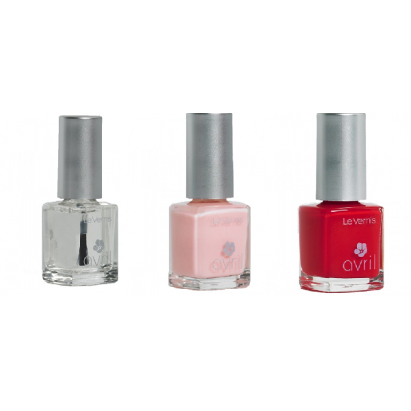 Lot de 3 Vernis : Base Top Coat, French Rose, Rouge Vermillon-Avril