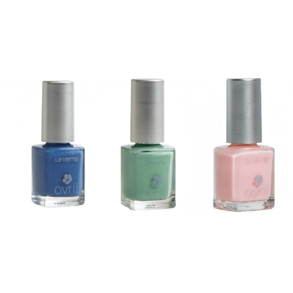 Lot de 3 Vernis : Bleu Azur, Vert Amande, French Rose-Avril