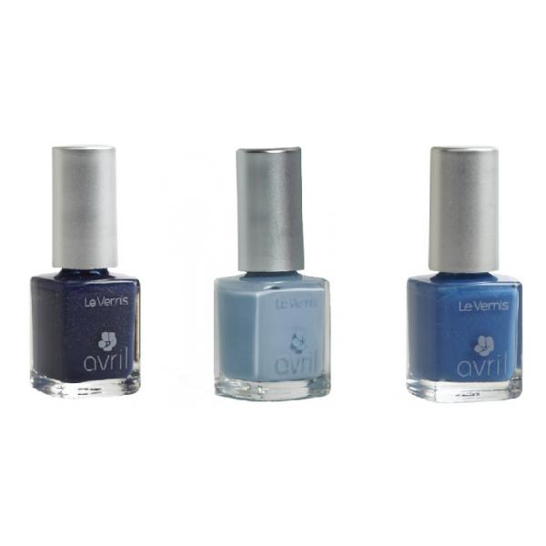 Lot de 3 Vernis : Gris Tourterelle, Bleu Azur, Bleu Mille et Une Nuit -Avril