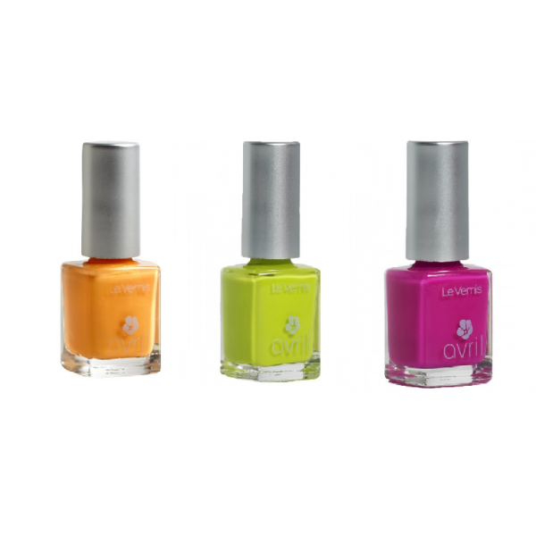 Lot de 3 Vernis : Orange Melon, Vert Pistache, Rose Bollywood-Avril