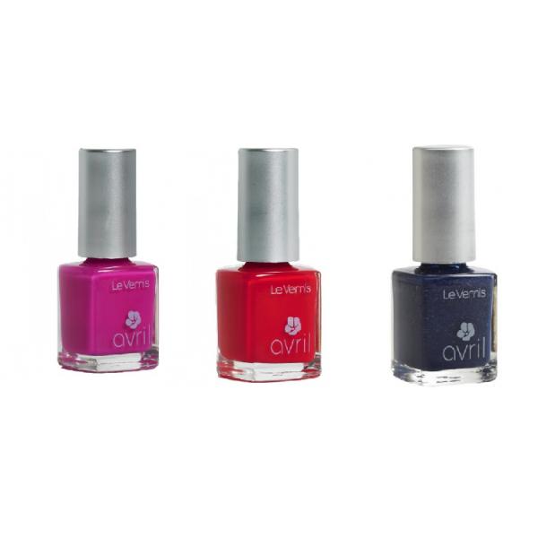 Lot de 3 Vernis : Rose Bollywood, Rouge Vermillon, Bleu Mille et Une Nuits-Avril