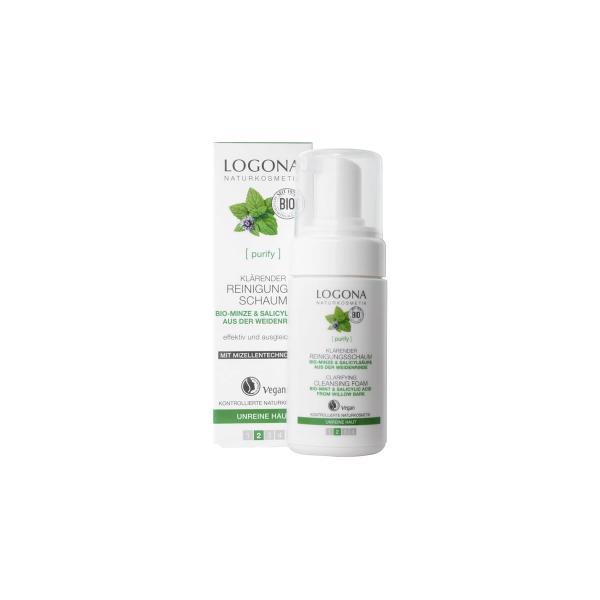 Mousse nettoyante clarifiante menthe bio et acide salicylique-Logona