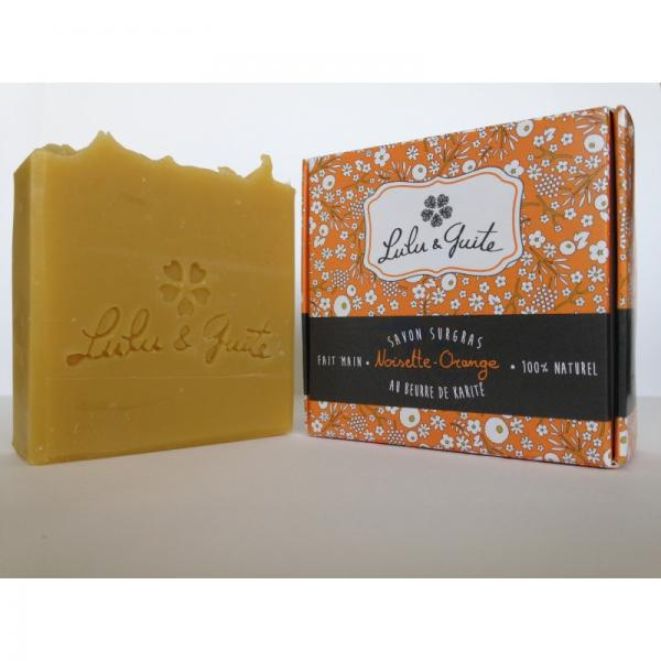 Savon Surgras 100% naturel artisanal Noisette et Orange-Lulu et Guite