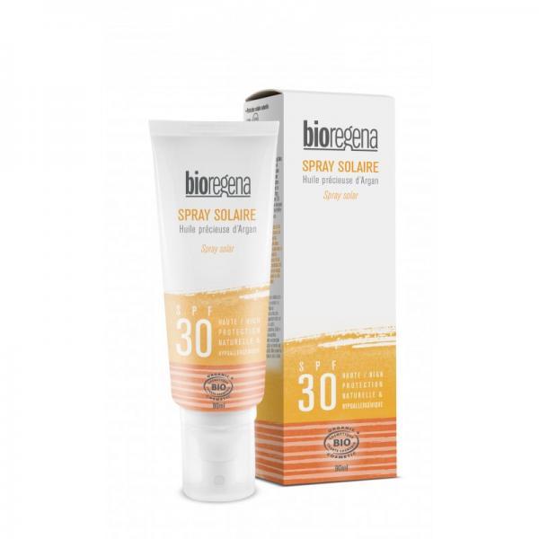 Spray solaire bio SPF 30 à l'huile d'argan visage et corps - Bioregena