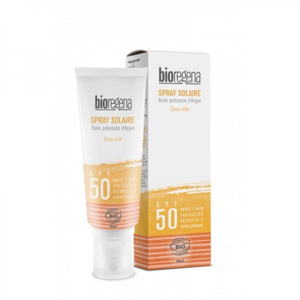 Spray solaire bio SPF 50 à l'huile d'argan visage et corps - Bioregena