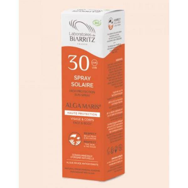 Spray solaire bio SPF30 water résistant - Alga Maris - Laboratoires de Biarritz