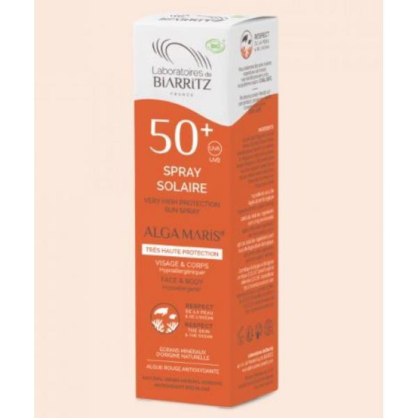 Spray solaire bio SPF50+ water résistant - Alga Maris-Laboratoires de Biarritz
